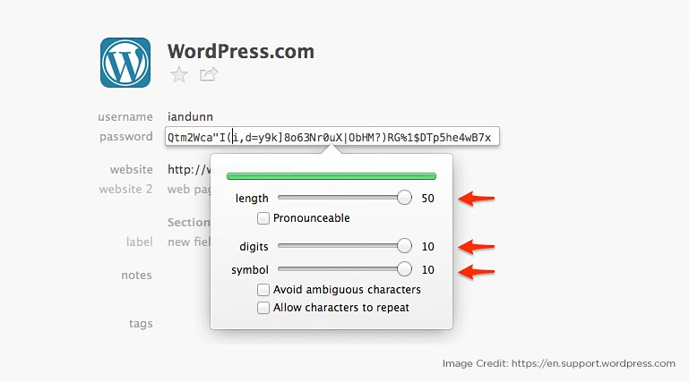 Select strong password for wordpress