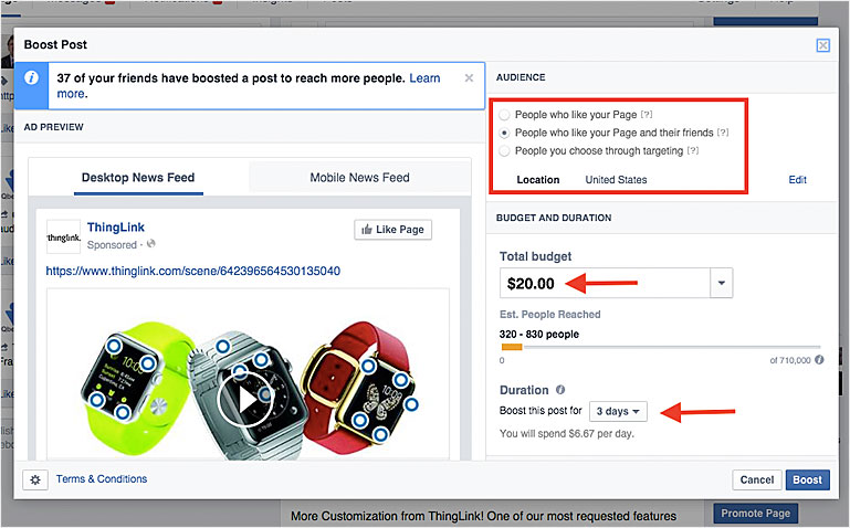 Desktop news feed ad on facebook