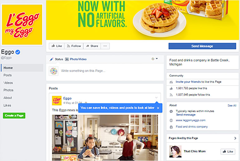Eggo Food and drinks company in Battle Creek, Michigan, Facebook business page