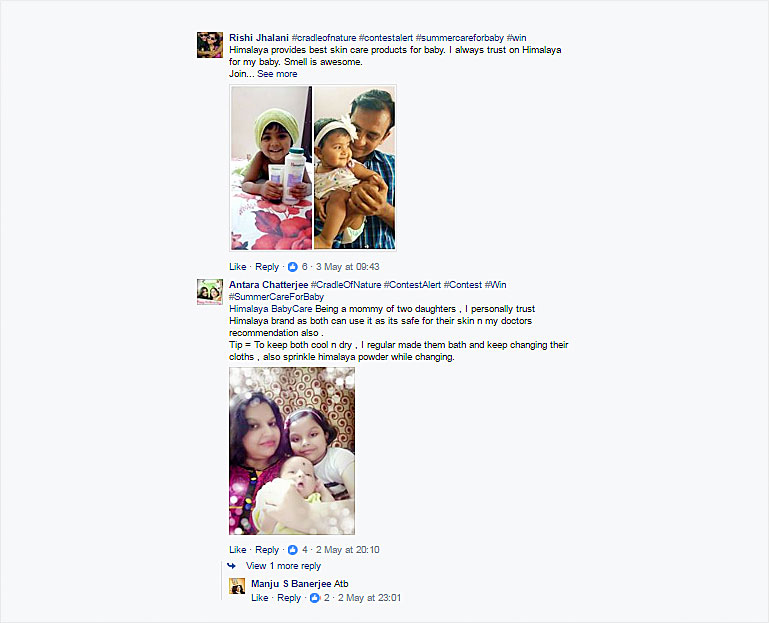 User generated content in Himalaya Baby Care's Facebook page