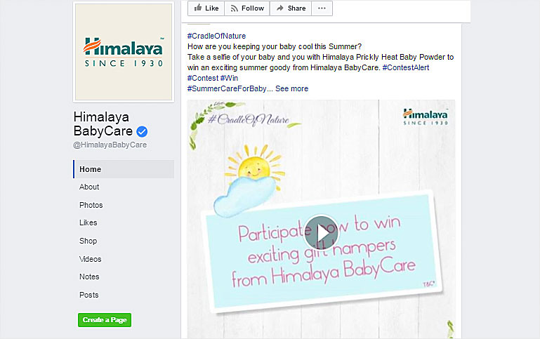 Himalaya BabyCare Facebook page