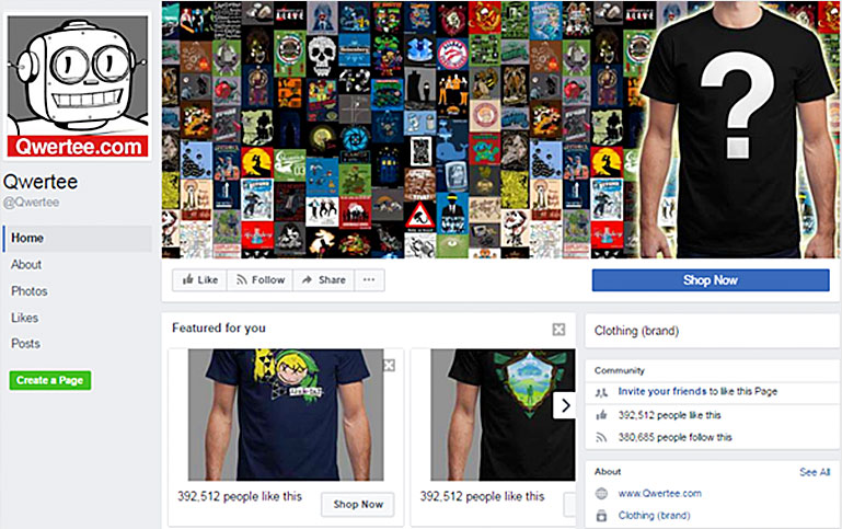 Qwertee.com Facebook business page