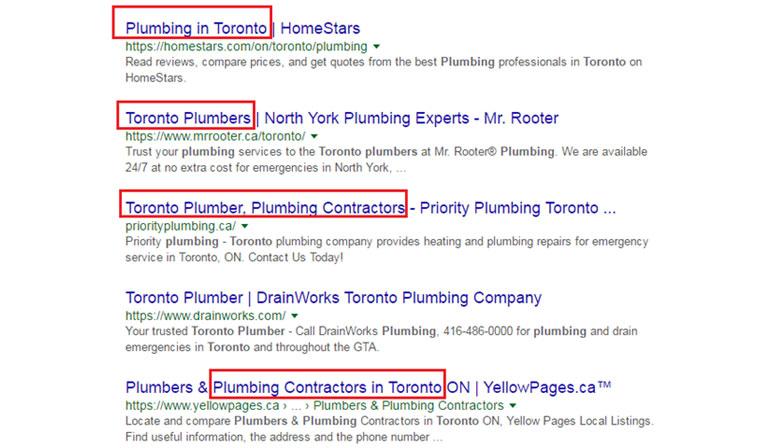 Toronto plumbers Google SERP