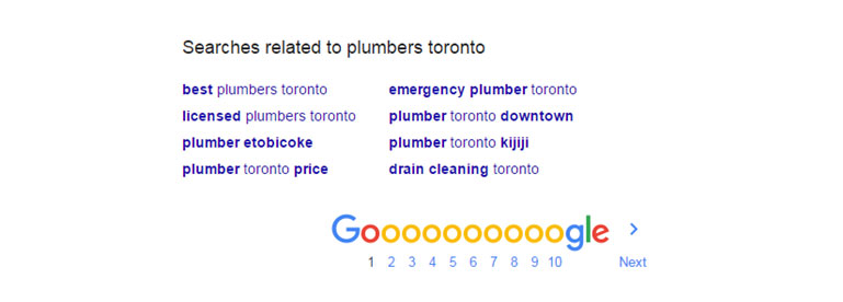 Google Related search suggest for plumbers toronto