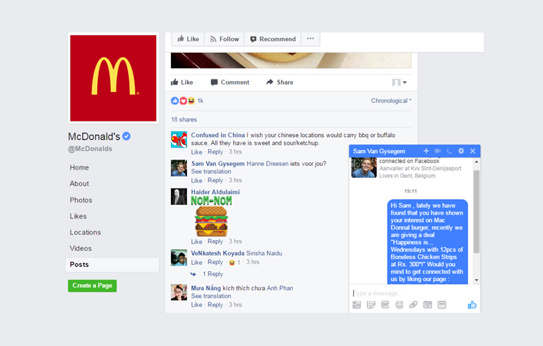 Direct Messaging to a fan from mcdonald's facebook page