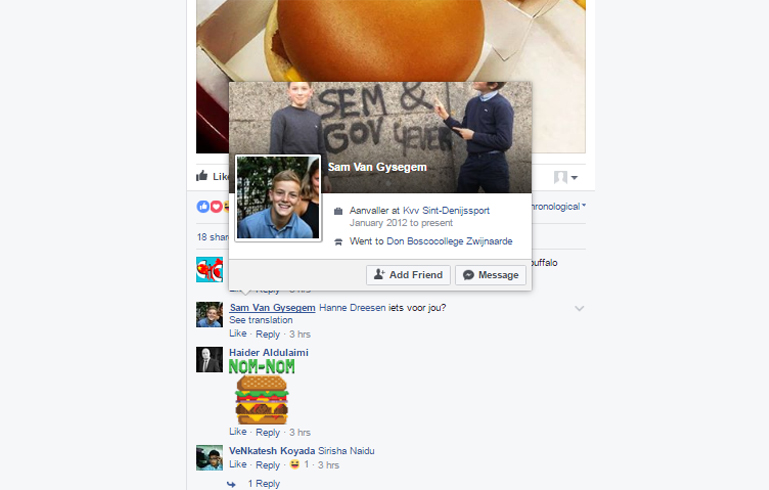 Selecting a fan from mcdonald's facebook page