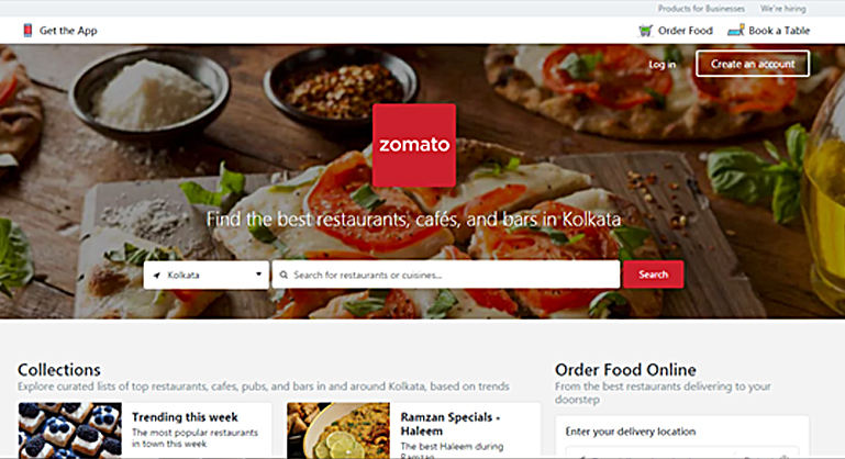 Zomoato Home page