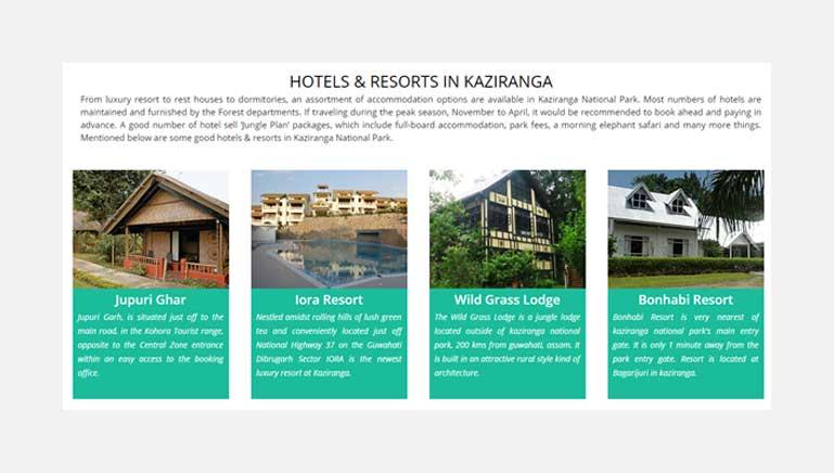 Hotels and resorts for Kaziranga tour