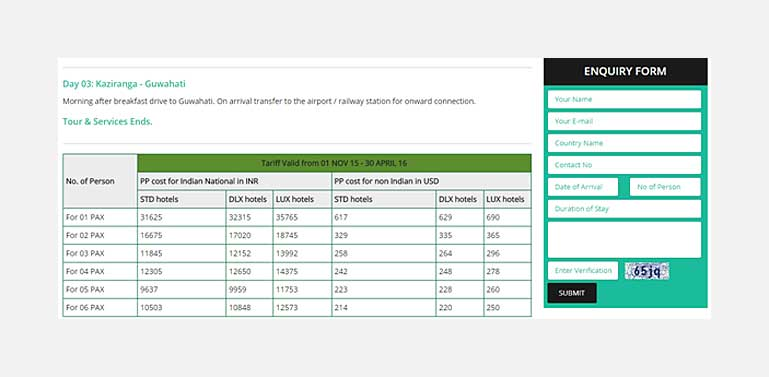 inquiry page beside rate chart