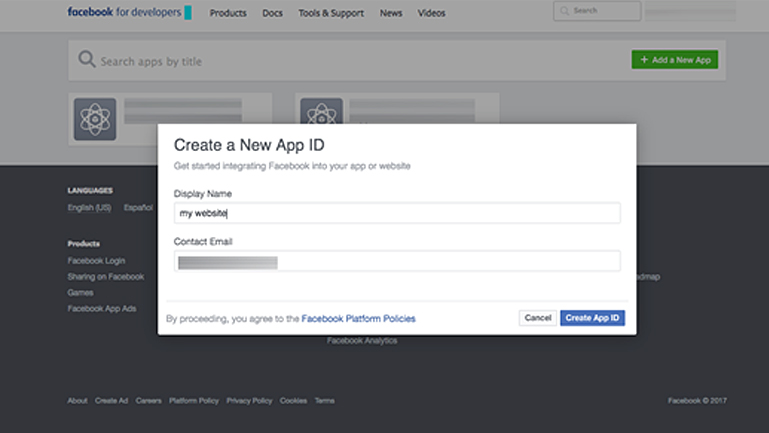Create a New App Id to set up Facebook instant articles