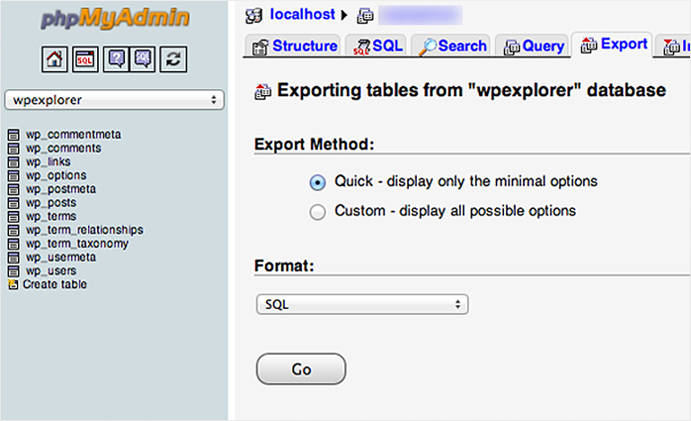 Exporting Your WordPress Database from last host