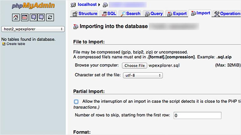 import wordpress database to new host