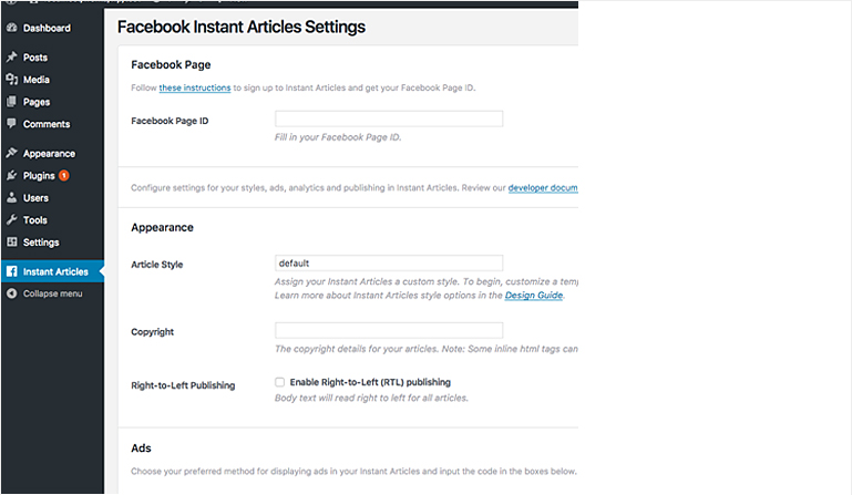 Facebook instant articles settings in WordPress