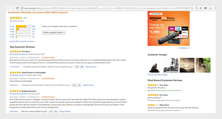 user generated content in form of a reviews on amazon.in's product page