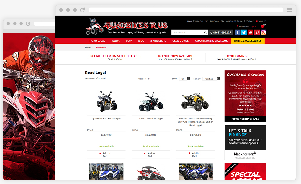 Quadbikes R Us ecommerce website build on Magento Framework