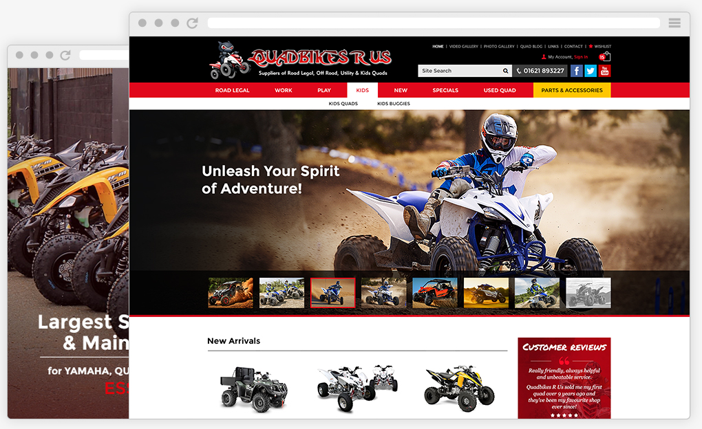 Quadbikes R Us from our Magento Web Development portfolio